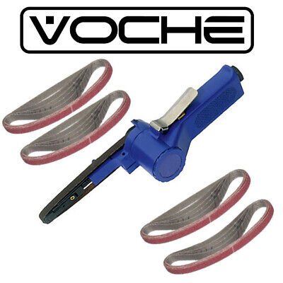 VOCHE® PRO 10mm AIR BELT SANDER FINGER FILE TOOL + 19PC 10x330mm SANDING BELTS