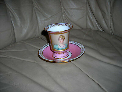 Antique 1800's Signed Murat French M Imp Sevres Cup Saucer Empress Josephine