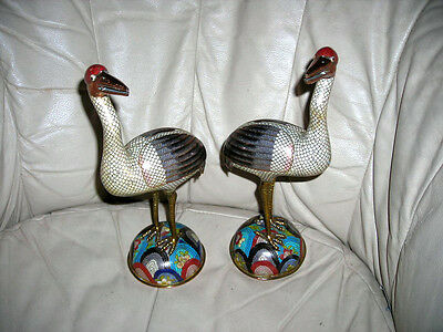 "Pair Of Lovely Antique Chinese Cloisonne Birds Storks Or Cranes 12"" Tall"