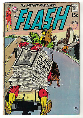 DC Comics THE FLASH Issue 199 Flash Dead! World Mourns Scarlet Speedster! VG
