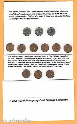 1943,44,45,1946, P,D,S, World War Time Emergency Lincoln Cent Coinage Set Steel