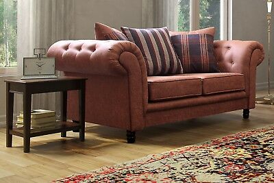 Sale New Woodland Chesterfield Design Sofas Tan Colour 3+2+1 Suite Free Delivery