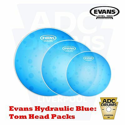 Evans Hydraulic Blue Tom Head Level 360 Drum Skins: Fusion/Rock/HyperDrive Packs