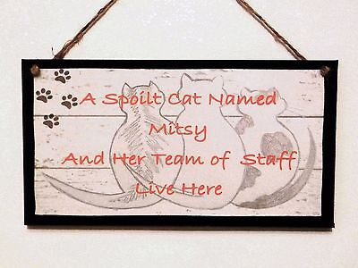 "Personalised Wooden Plaque, Sign. ""A Spoil Cat Lives Here"""