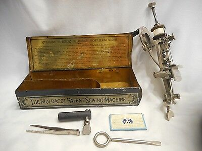 Rare Antique Moldacot Patent Portable Sewing Machine with Tin, Needles, & Tools