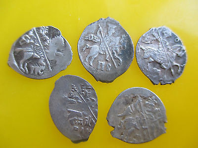Russia dengа Different types, Ivan IV, Mikhail, Godunov, Lot of 5 coins