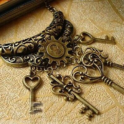 Antique Vintage Style Skeleton Key necklace Bronze Lock Steampunk 5 keys 24""