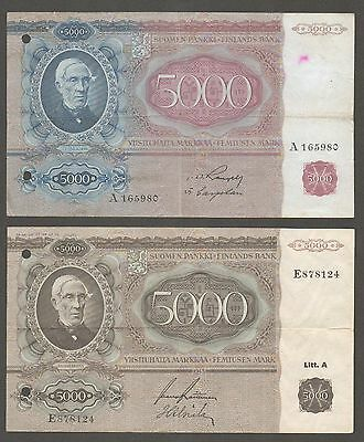 Finland 5000mk 1939 and 1945