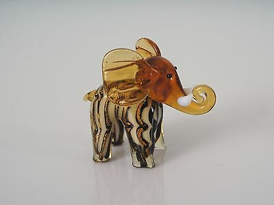 Elephant Glass Ornament  - Golden Brown Colour - Nicely Detailed - New & Boxed