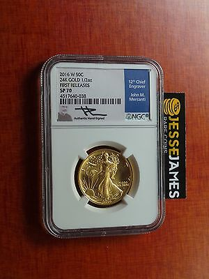 2016 W 50C Walking Liberty Gold Half Ngc Sp70 First Releases Mercanti Signed