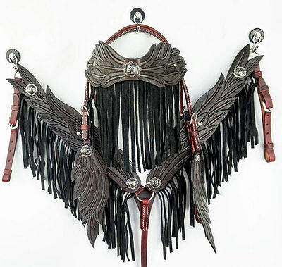 Angel Wing Usa Leather Headstall Western Show Horse Fringe Bridle Breastcollar