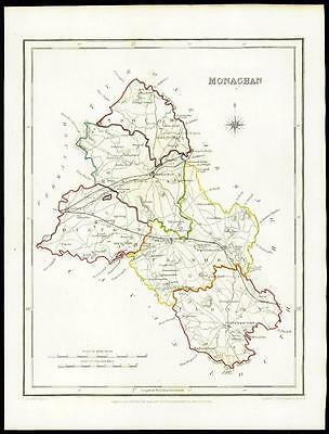 IRELAND 1845 Original Antique Map of MONAGHAN by Lewis & Co