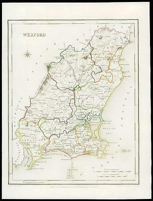 IRELAND 1845 Original Antique Map of WEXFORD by Lewis & Co