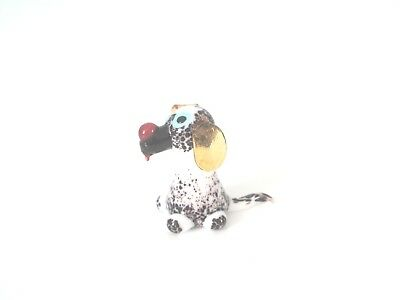 Dog Glass Ornament - Black, White & Brown Colour - Nicely Detailed - New & Boxed