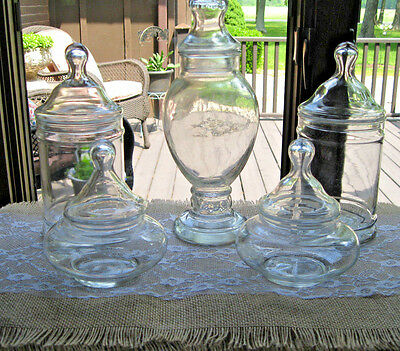 5 Glass Apothecary Candy Display Storage Buffet Bridal Jars Lot Unique Set