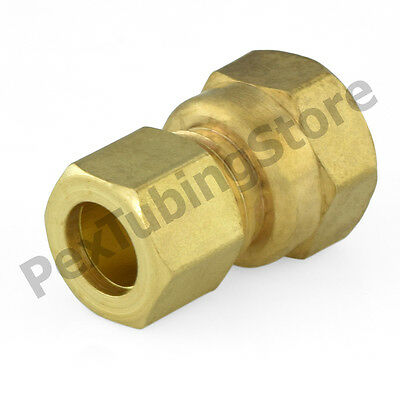 """(25) 3/8"""" OD x 1/2"""" Female NPT Connector (Lead-Free) Brass Compression Fittings"""