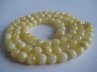 Bernsteinkette Baltic Amber Necklace White-Yellow Beads Balls Rosary