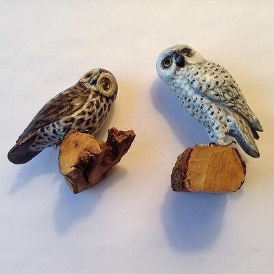 HANDCARVED, HANDPAINTED  WOODEN OWL FIGURINE ON BRANCH Lot of 2
