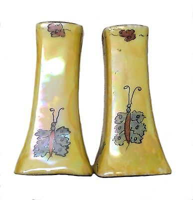 Antique Bavarian Salt Pepper Shakers Yellow Hand Painted