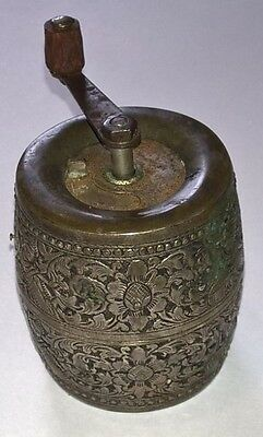 Antique Marlux Pepper Grinder Repousse -Made in France- India Floral Motif