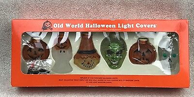 Old World Halloween Replica Light Cover Set Pumpkin Ghost Skull Witch Scarecrow