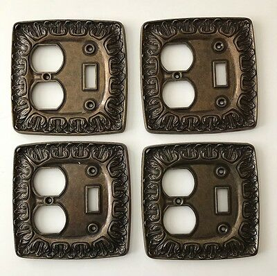 Vintage BRASS SWITCH PLATE OUTLET COVERS Lot of 4 EXCELLENT CONDITION!