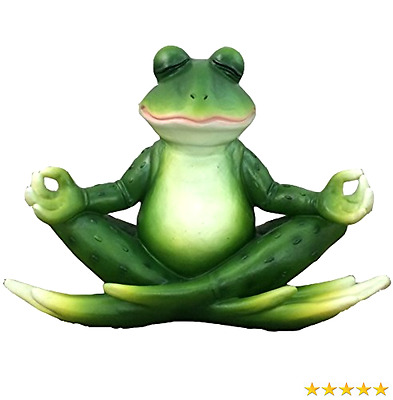 Meditating Yoga Frog Figurine By DWK | Tabletop Collectible Statues For Frog Lo