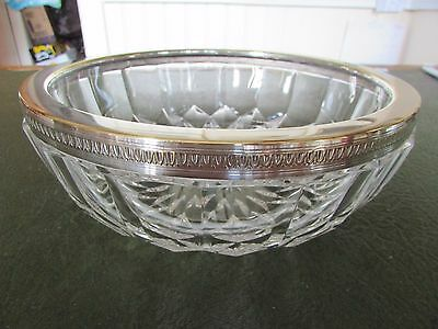 French Cut Crystal Bowl with Silver Plated Rim by Val St. Lambert c.1950s