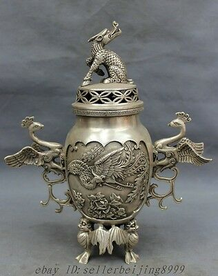 "12"" Tibet Silver BAT Peacock Phoenix Dragon Kylin Statue Incense Burner Censer"