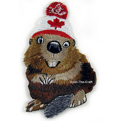 Canadian Beaver ~ Embroidered Iron-On Patch ~ Canada