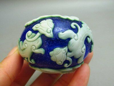 Chinese Peking Glass Carved Dragon Inkwell / Brush washer