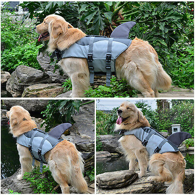 Puppy Dog Life Jacket Float Coat Dog Life Preserver Shark Style Grey Swimming