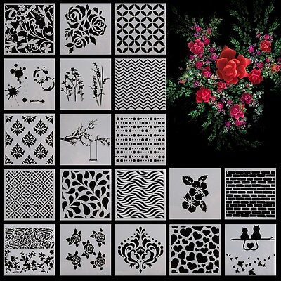 Wall Painting Stencil Vintage Pattern Reusable Plastic Flower DIY Decor