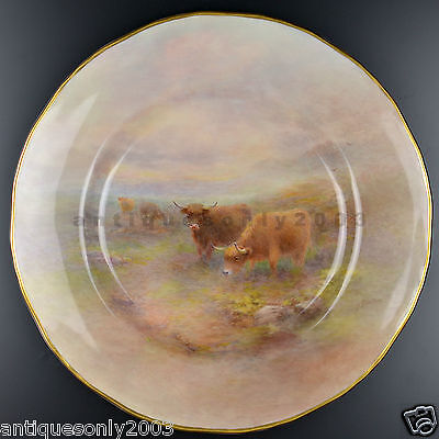 ROYAL WORCESTER Highland Cattle Painted Porcelain Plate HARRY STINTON SIGNED #1