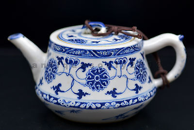 Small Chinese Blue & White Musk-Mallow Bamboo Porcelain Oriental Teapot China