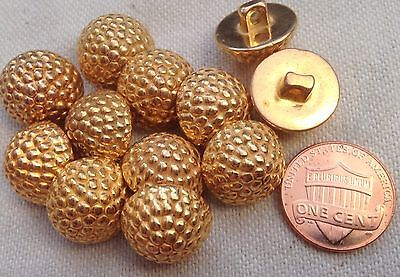 """12 Gold Tone Domed Berry Design Plastic Shank Buttons 5/8"""" 15.5mm # 7144"""