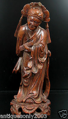 Vintage Old Chinese Wood Wooden Carved Carving Figure Figurine Statue of Scholar