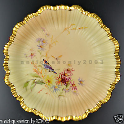Antique Royal Worcester Flower Butterfly Blush Ivory Hand Painted Plate by RABY