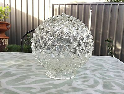 Vintage Round Pressed Glass Hobnail Diamond Pineapple Glass Lamp Shade Light