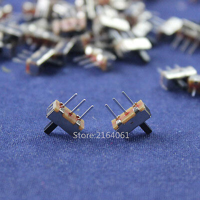 100X Interruptor on-off mini 1 Way 2 Band PCB Slide Switch Mount for DIY Project