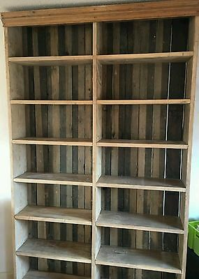 Antique Very Large Rustic Pine Bookcase