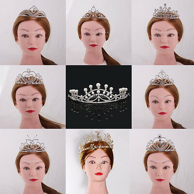 Vintage Wedding Birthday Crown Headdress Crystal Pearl Princess Headband Tiara