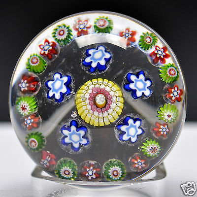 Antique St Saint Louis Complex Millefiori Garland French Glass Paperweight 1850s