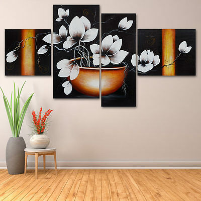 Magnolia Pure Hand Painted Wall Art 4 Piece Oil Painting Wooden Framed Canvas