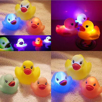 4 Pcs Baby Bath Float Toy Auto Color Changing Duck LED Light Vinyl Toy Teether