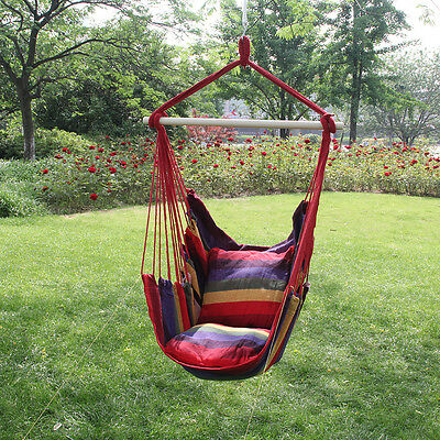 Garden Hanging Rope Hammock Chair Swing Porch Outdoor Patio Stand Cushioned Seat