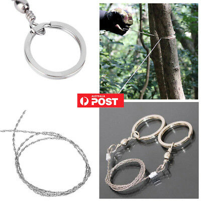 Portable Stainless Steel Wire Saw Emergency Camping Hiking Rope Survival Tool AU