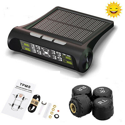 Solar TPMS Wireless Car Tire Pressure LCD Monitoring System + 4 External Sensors