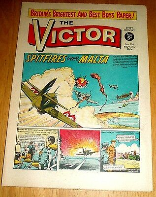 Raf Spitfires Chase German Bombers In Malta  Ww2 Cover Story Victor 1964 #196