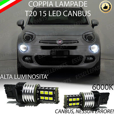 Coppia Luci Diurne Drl 15 Led T20 Canbus Fiat 500X My2017 6000K 100% No Error